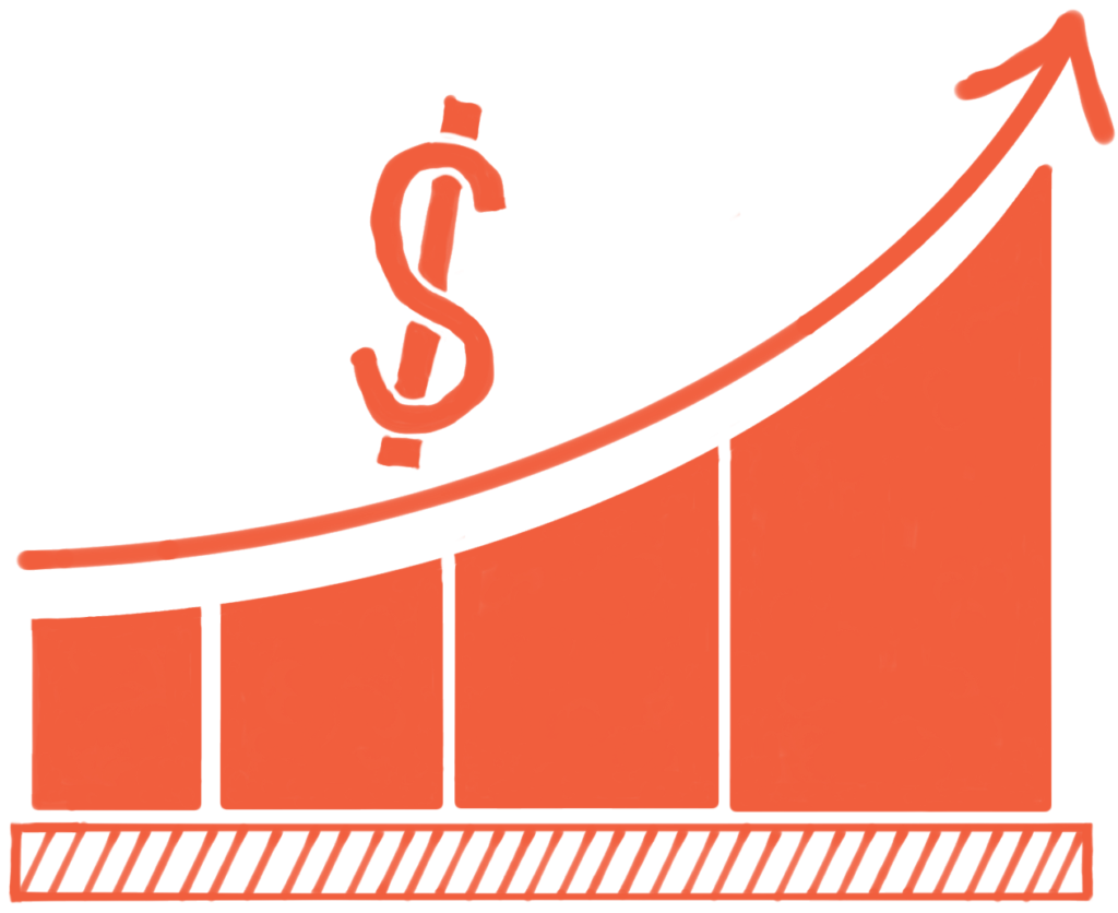 earnings chart showing an increase in cash flow