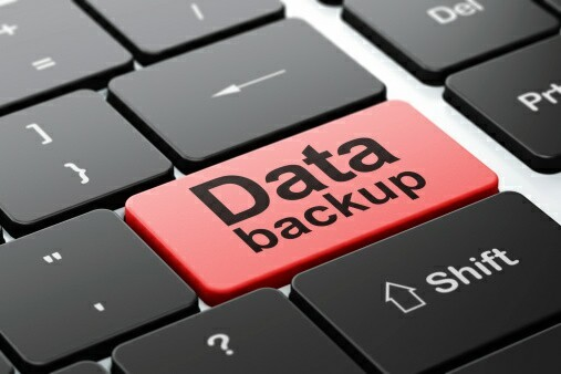 """a large button reading """"data backup"""""""